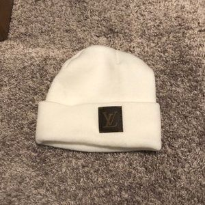 White custom louis vuitton beanie